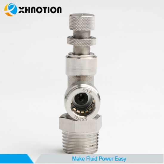 "Xhnotion SS316L 1/2"" Speed Controller Fitting in Air Actuator"
