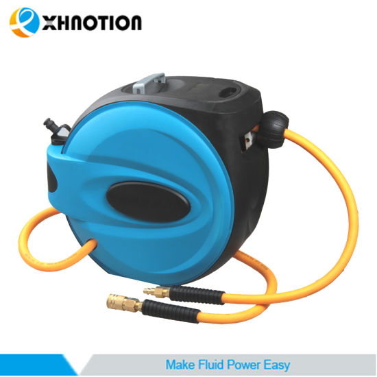 "Xhnotion 3/8"" ID Rewind Retractable Air Hose Reel with Coupler Socket"